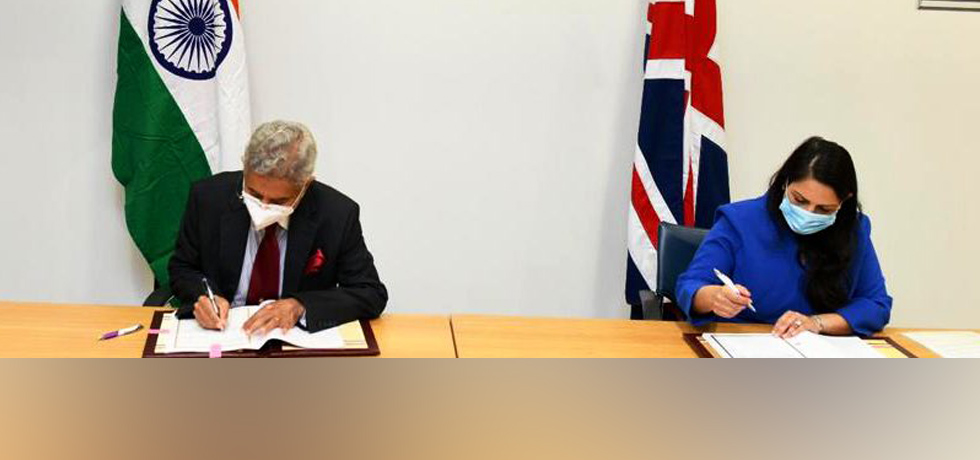 External Affairs Minister and Rt Hon Priti Patel MP, Secretary of State for the Home Department, U.K. sign the Migration and Mobility Partnership Agreement in U.K.